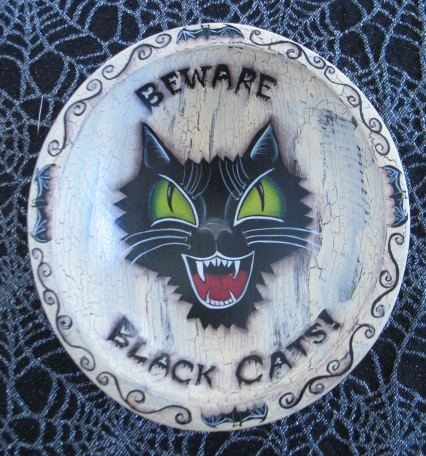 Beware Black Cats!  Wood Bowl